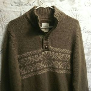 Fossil Olive green partial button up sweater